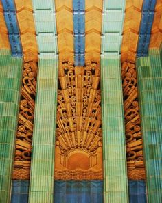 A turquoise and yellow terracotta Sunburst decorates the vestibule over the front entrance of the  Eastern Columbia Building (849 S. Broadway) was built by Architect Claude Beelman in 1930