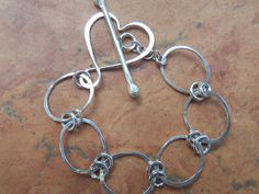 Sterling Silver Bracelet with Heart Toggle by BrazinHussyStudio, $98.00