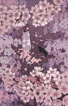 夜桜 月が綺麗ですね - painting and drawing Japanese Aesthetic, Aesthetic Art, Aesthetic Anime, Anime Manga, Anime Art, Anime Gifts, Witch Art, Anime Scenery, Aesthetic Wallpapers