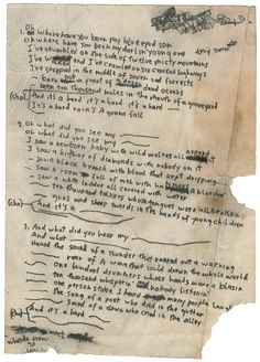 "Bob Dylan ""A Hard Rain's A-Gonna Fall"" Handwritten Working Lyrics 