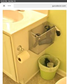If you or your significant other tends to leave hair dryers, curlers, or flat irons cluttering your bathroom sink area you can add safe organization by mounting a mesh file box on your bathroom vanity or wall. Bathroom Counter Organization, Small Bathroom Storage, Organization Ideas, Organizing Tips, Hair Dryer Storage, Bathroom Repair, Secret Organizations, Modern Small Bathrooms, Sink Organizer