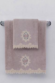 Kolekce ručníků DESTAN v lila či starorůžové barvě s překrásným zdobením v podobě ornamentu Towel, Embroidery