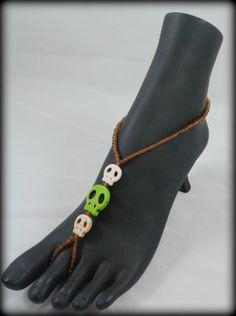 Skull barefoot sandals, boho, beach, beach sandals, beaded sandals, stretchy barefoot sandal, foot jewelry, barefoot sandals