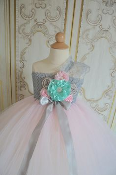 Pink Aqua and Grey flower girl tutu dress by TutuSweetBoutiqueINC, $60.00