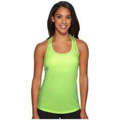New Balance NB Ice Tank Top (Bleached Lime Glo) Women's Sleeveless ($40) ❤ liked on Polyvore featuring activewear, activewear tops, new balance activewear and new balance