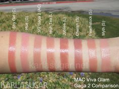 MAC, Viva Glam Gaga 2, swatches, Shy Girl, Hue, High Tea, Jubilee, Cherish, Peachstock, Myth, KarlaSugar, Karla Sugar