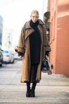 oversized coat-statement coat-mid calf boots-black boots-black skinnies oversized tunic sweater all black work weekend-layering-winter outfits-what to wear when its freezing