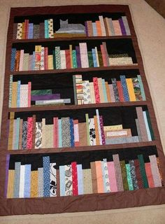 OMG I LOVE THIS Book Shelf Quilt Use it as a memory quilt too! Personalize with printable fabric to create books with their favorite childhood stories! Quilting Tips, Quilting Projects, Quilting Designs, Sewing Projects, Paper Pieced Quilt Patterns, Quilt Block Patterns, Quilt Blocks, Cat Quilt, Book Quilt