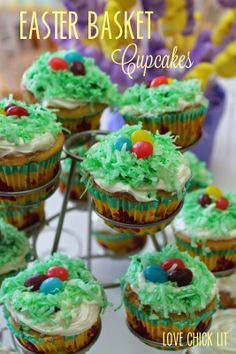 Easter Basket Cupcakes with green coconut grass and jellybeans for Easter eggs!