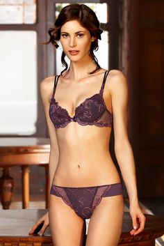 Lise Charmel India Dance push up bra and thong in purple from the archives   #lisecharmel #lingerie
