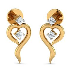 Designer Gold Studs earrings from aurobliss.com online gold jewellery store India The Stud looks like heart shaped which looks so elegant and beautiful. Review and Gift stylish and modern gold earrings collections from Aurobliss.com online Jewellers.