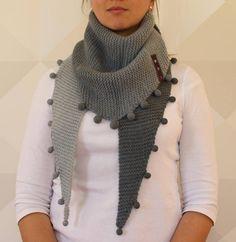 MERINO/ SILK/ ALPACA triangle hand knitted scarf/small shawl