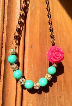 Turquoise Gemstone Beaded Rose Statement Necklace by JewelrybyRJ, $25.99