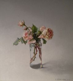 Isabel Quintanilla, Las Rosas, 2010 Spanish Painters, Amazing Paintings, Natural Forms, Contemporary Paintings, Still Life, Glass Vase, Inspiration, Flower Paintings, Vanitas