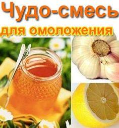 Состав этой чудо-смеси такой:  4/5 стакана льняного масла,  4 лимона , 3 головки чеснока такого же размера, 1 кг меда. Измельчить на мясорубке очищенный чеснок, 2 лимона с кожурой и 2 - без.  Эту массу смешать с маслом и медом и хранить смесь в плотно закрытой стеклянной банке в холодильнике.  Есть по 1 ст.л. 3 раза в день за полчаса до еды. Принимать эту чудо-смесь постоянно, делая перерывы межу приемами 1 неделю. Не верю, но проверю!!!..,from Iryna