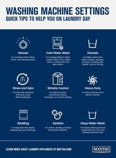 Before starting a load of laundry, make sure to adjust your settings based on the type of laundry being cleaned. Learn more about laundry appliances at Maytag.com. Household Cleaning Tips, House Cleaning Tips, Diy Cleaning Products, Spring Cleaning, Cleaning Hacks, Deep Cleaning, Grill Cleaning, Household Products, Cleaning Recipes