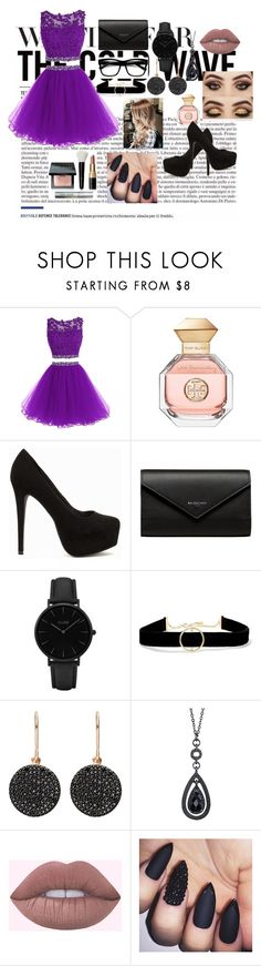 """""""The combination of a prom night or a night out. I hope you like it."""" by bosniamode ❤ liked on Polyvore featuring Tory Burch, Nly Shoes, Balenciaga, CLUSE, Anissa Kermiche, Astley Clarke, 1928 and Bobbi Brown Cosmetics"""