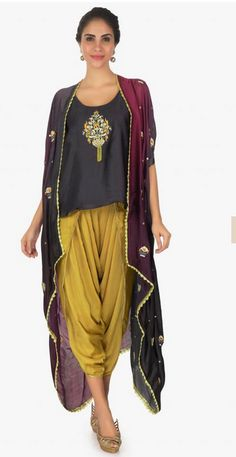 1b0a514fadf Black top paired with khaki overlapping dhoti pant and a overlay jacket only  on Kalki Lehnga