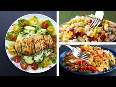 :Healthy salad recipes, diet recipes, easy salads, easy meals, huile d' Healthy Recipe Videos, Healthy Recipes, Easy Salads, Healthy Salad Recipes, Healthy Foods To Eat, Diet Recipes, Healthy Snacks, Easy Meals, Healthy Eating