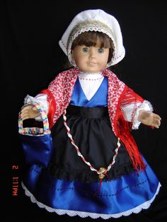 Traditional Slovenian folk costume for American Girl doll. My American Girl, American Girl Clothes, Girl Doll Clothes, Doll Clothes Patterns, Doll Patterns, Ag Dolls, Girl Dolls, Thinking Day, Beautiful Dolls