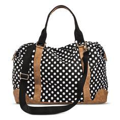 Women's Polka Dot Canvas Weekender Handbag - Black/White