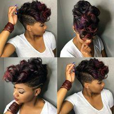 Hair Style Hub 20 Badass Mohawk Hairstyles For Black Women Short Sassy Hair, Short Hair Cuts, Curly Short, Love Hair, Gorgeous Hair, Curly Hair Styles, Natural Hair Styles, Mohawk Styles, Relaxed Hair