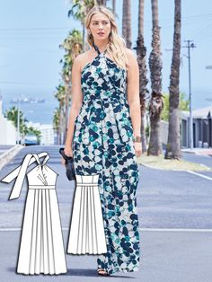 This style works from morning through evening, and even into a highlight for evening wear. This halter maxi dress includes billowing skirt panels and a narrow halter bustier that accentuates beautiful shoulders.   More projects to make your own clothes at www.sewinlove.com.au