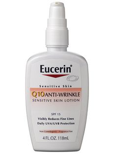 I love this, by far the best moisturizer for your face. Won't break out you skin. I finally wake up, look in the mirror and don't think i'm looking older every day.  Eucerin Sensitive Skin Q10 Anti-Wrinkle Sensitive Skin Lotion SPF 15: Skin Care: allure.com
