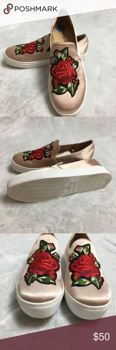 Dirty Laundry  Floral Embroidered Slip-On Sneeaker New Dirty Laundry Joon Satin Embroidered Slip On Sneakers Flats Loafer shoes 7.5 Satin upper with embroidered floral patch accent. Slip-on design. Round toe. Synthetic lining. Lightly padded footbed. Synthetic outsole. Dirty Laundry Shoes Sneakers