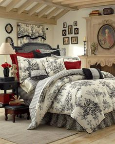 Toile Bedding, Toile Comforters & Bed Sets in Black & White, Red, Blue and Green Toile de Jouy: The Home Decorating Company guest room French Country Bedrooms, French Country House, French Country Bedding, French Cottage, French Bedding, Country Cottage Bedroom, Country Bedding Sets, French Country Fabric, Country Bedroom Design