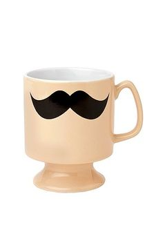 I'm a little over the mustache motif but something about the combination of this smiley stash and the shape/color of this mug works. I'd fill this with tea anytime!