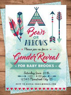 Humorous Gender Reveal Party Ideas | Halfpint Design - Bows or arrows gender reveal invitation