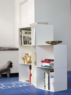 Totem Angular Bookcase Cubes create resoinsive spaces for housing books, ornaments, pictures, and memories of your life.