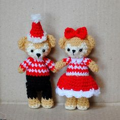 Christmas Amigurumi Shellie May & Duffy Bears by OneLoveCottage