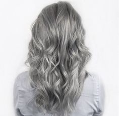 Silver grey hair by Marije @ Salon B, Almere | silver-blonde hair color, waves
