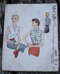 McCall 3057 1950s 50s Sleeveless Blouse Vintage Sewing Pattern Size 12 Bust 30