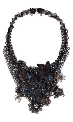 Bib-Style Necklace with Seed Beads, SWAROVSKI ELEMENTS and Czech Glass Beads