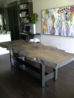 Stained Silver Maple Dining Table, Custom built by Urban Tree Salvage! Celebrating our 10 year anniversary, we are the leaders in reclaimed and salvaged live edge slab tables. Our goal is to design and handcraft extraordinary one of-a-kind pieces destined to be the focal point of any room.