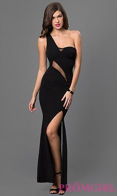 Long Black One Shoulder Dress with Sheer Midriff at PromGirl.com