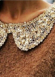Detailed collar that could be added to any simple sweater or top to add flair Tweed, Peter Pan Collars, Cozy Sweaters, Fashion Details, Crochet Necklace, Winter Fashion, Feminine, Style Inspiration, Brown