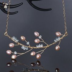 Aquamarine Gold Twig Branch Necklace with Pearls Handmade Wire Wrapped Jewelry - Wedding nacklaces (*Amazon Partner-Link)