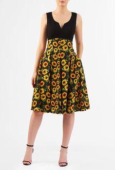 I <3 this Sunflower print empire mixed media dress from eShakti