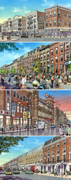 Cinestage, Chicago. Renderings for outdoor sets for midwest movie studio. Renderings by Bondy Studio.