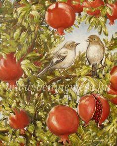 Együtt a gránátalmás kertben 100 X 80 - Csendélet festmény