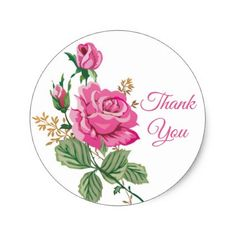 Floral Pink Thank You Rose Flower Roses Classic Round Sticker - pink gifts style ideas cyo unique