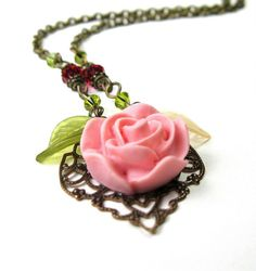 Resin Flower Necklace Rose Pink Womens by jewelrybyNaLa on Etsy, $41.25