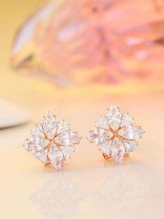 2 Carat Marquise Cut Big Diamonds Huggie Earrings in Rose Gold Finish Ideal Cut Diamond, Pear Diamond, Diamond Bands, Man Made Diamonds, Big Diamonds, Diamond Earrings, Stud Earrings, 18k Rose Gold, Vintage Earrings