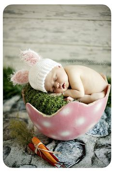 Newborn Crochet White Baby Bunny Hat  Photography Prop/Easter