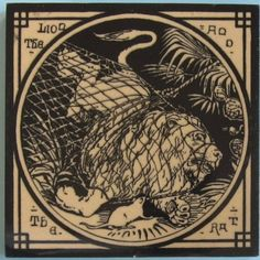 Chic Victorian aesthetic movement transfer tile in black printed on a buff clay body from the Aesop's Fables series by Mintons China Works. The designs for this series are attributed to Thomas Allen. Here...