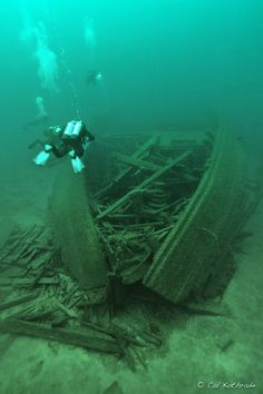Shipwreck of the E.M.B.A. in Lake Michigan, by photographer Cal Kothrade. Prints available.